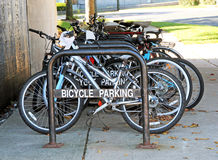 Bicycle Parking Rack. With row of bicycles Royalty Free Stock Photo