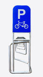 Bicycle parking rack, bike racks bicycle parking. Stock Image