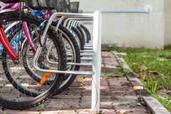 Bicycle parking. The bicycle parking in residence the morning Royalty Free Stock Photography