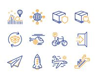 Bicycle parking, Roller coaster and Exit icons set. Airplane travel, Rocket and Search package signs. Vector. Bicycle parking, Roller coaster and Exit icons stock illustration