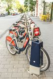 Bicycle Parking. Row of London bicycle sharing parking at station Royalty Free Stock Image