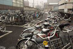 Bicycle Parking. Secure Bicycle Parking in the Winter stock photos