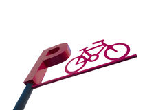 Bicycle Parking Sign against white background Royalty Free Stock Images