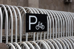City sign for  bicycle parking  Stock Image