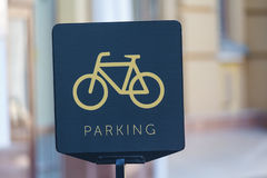 Bicycle parking sign close-up Stock Images