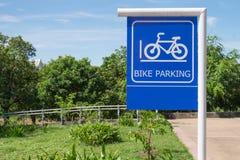 Bicycle parking sign close-up Royalty Free Stock Photos