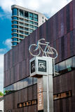 Bicycle parking sign in Eindhoven city center Royalty Free Stock Photo