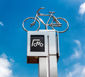 Bicycle parking sign. Eindhoven, Netherlands Royalty Free Stock Images