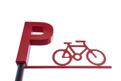 Bicycle Parking Sign isolate on white background Stock Image