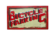 Bicycle Parking Sign. A bicycle parking sign isolated on a white background royalty free stock image