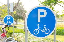 Bicycle parking sign Stock Photos