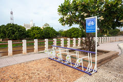 Bicycle parking sign in public park Royalty Free Stock Photo