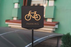 Bicycle parking sign on the street royalty free stock photos