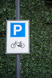 Bicycle parking sign Stock Images