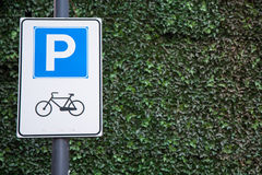Bicycle parking sign Royalty Free Stock Photo