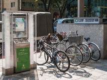 Bicycle parking and smoking station in tokyo japan Royalty Free Stock Photography