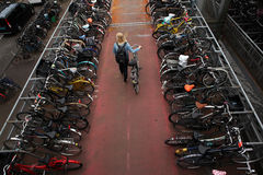 Bicycle parking station in Amsterdam, Netherlands Stock Photo