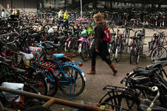 Bicycle parking station in Amsterdam, Netherlands Royalty Free Stock Photography