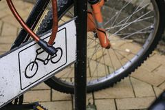 Bicycle parking in the street.  Stock Photography