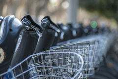 Bicycle Parking. At the street bicycle parking. On rent. City life Royalty Free Stock Image