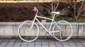 Bicycle parking on street. A white bicycle parking on street at downtown in Tokyo, Japan Royalty Free Stock Photos