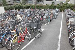 Bicycle parking in Tokyo Stock Photos