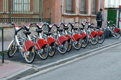 Bicycle parking in Toulouse Stock Image