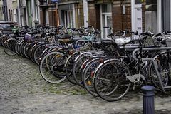 Bicycle parking and traditional old dutch royalty free stock photos