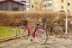 Bicycle on parking. Two bicycle on parking in Sweden Stock Images