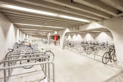 An bicycle parking. Bicycle parking under the bridge in the heart of Ghent Royalty Free Stock Photography