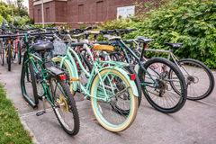 Bicycle parking at university campus Royalty Free Stock Photography