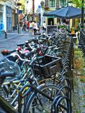 Bicycle parking Utrecht Holland July royalty free stock photo