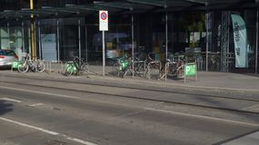 Bicycle parking in Vienna stock image