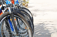 Bicycle parking zone. In the city Royalty Free Stock Images