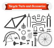 Bicycle parts and accessories. Black icons set of bicycle parts and accessories on white background. Vector isolated illustration stock illustration