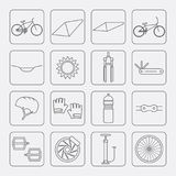 Bicycle parts and accessories. Line icons set. Vector. Royalty Free Stock Images