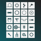 Bicycle parts icons. Simple icons, icon stock illustration
