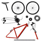 Bicycle parts. Illustration of bicycle parts. Vector format Stock Images