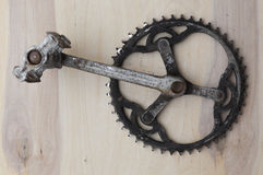 Bicycle parts, Mechanic reiparing a bike, chainring and pedals Royalty Free Stock Image