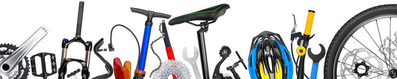 Bicycle parts panorama Royalty Free Stock Images