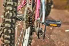 Bicycle parts rear wheel brake stock image