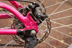 Bicycle parts rear wheel brake disc frame cassettes royalty free stock photos