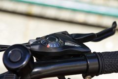 Bicycle parts steering wheel, gearshift stock image