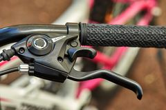 Bicycle parts steering wheel, gearshift stock images