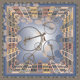 Bicycle party. Abstract drawing, with 3d illusion and sense of motion, can be put on scarfs, accessories, wall decorationы, cards Royalty Free Illustration