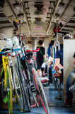 Bicycle in passenger car. Royalty Free Stock Photo
