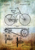 Bicycle patent from 1890 Stock Photography