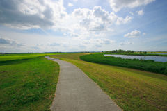 Bicycle path. In the Dutch river landscape Royalty Free Stock Photos