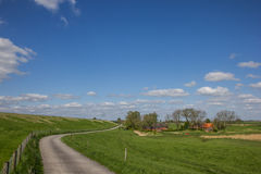 Bicycle path along the dollard route in Ostfriesland Stock Image