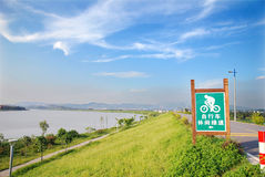 Bicycle path around the river stock photos